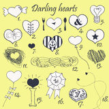 Set of stylized hand drawn hearts Stock Photography