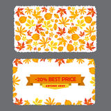 Card with discount of 20 percent. Autumn flyer template with leaves. Stock Photo