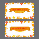 Card with discount of 50, 70 percent. Autumn flyer template with leaves. Card with discount of 50, 70 percent. Autumn sale flyer template with leaves. Bright Royalty Free Stock Images