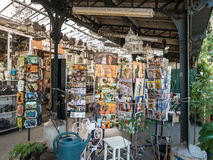 Card display at Paris flower market Royalty Free Stock Photo