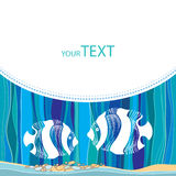 Card with dotted white fish on the striped background Royalty Free Stock Photo