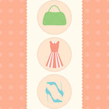 Card dress, shoes, bag. Vintage. Template of card, banner, flyer featuring shoes, dress, handbag with vintage feel Stock Photo