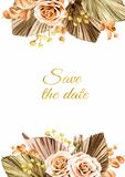 Card with dried plants, Wedding invitation, save the date, thank you, brochure, invite template and background, Watercolor hand