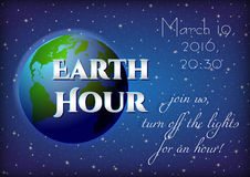 Card for Earth Hour - global annual international event Stock Image