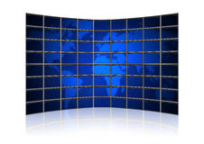 Card earth on screens of monitors Royalty Free Stock Photos