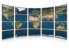 Card earth on screens of monitors Stock Photo
