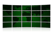 Card earth on screens of security monitors Stock Image