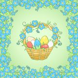 Card with Easter basket Royalty Free Stock Photography
