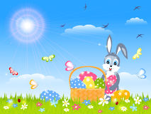 Card with easter bunny and eggs Royalty Free Stock Photos