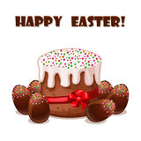 Card Easter cake and chokolate eggs Royalty Free Stock Photos