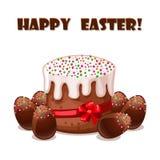 Card Easter cake and chokolate eggs Royalty Free Stock Photos