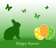 Card for Easter day. Car for easter day with a bunny and eggs Stock Photo