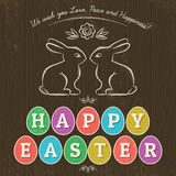 Card for  Easter day with  eleven colored eggs and rabbits Stock Photography