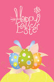 Card with easter eggs stock photography