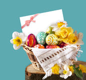Card and Easter eggs and flower Royalty Free Stock Photography