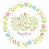 Card easter eggs with flowers royalty free illustration