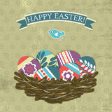 Card with easter eggs on grunge background Royalty Free Stock Photo