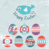 Card with easter eggs on grunge background Stock Image