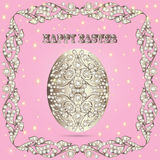 Card with Easter eggs and precious stones Stock Photo