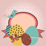 Card with easter eggs and bird in retro style Stock Photography