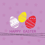 Card with easter eggs and star background purple  Stock Photos