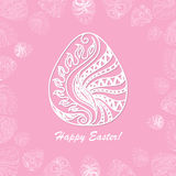 Card of Easter with graphic eggs. Card of Easter with filigree graphic eggs for design. Pink color Royalty Free Stock Photography