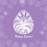 Card of Easter with graphic eggs. Card of Easter with filigree graphic eggs for design. Violet color Stock Photos