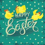 Card for Easter with a picture of funny cartoon chicks Stock Photo