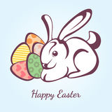 Card for Easter with rabbit and eggs. Vector easter graphical elements Stock Photos