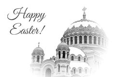 Card for Easter wirh domes of Naval Cathedral of Saint Nicholas the Wonderworker in Kronstadt, Russia Royalty Free Stock Photography