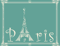 Card with eiffel tower Stock Images