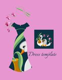 Card with elegant female dress and illustration of swan. Stock Photos