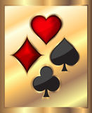 Card elements on gold background.  Royalty Free Stock Photo