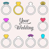 Card with engagement or wedding rings Royalty Free Stock Photo