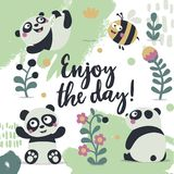 Card enjoy the day panda cute plant, flower, lea, bee. Card enjoy the day panda cute plant, bee vector illustration