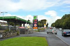 Card entyering to Apple Green Petrol station where there is a bu. Rger king and Chopstix,Tuam Road, Galway, Ireland December 2017 Stock Photography