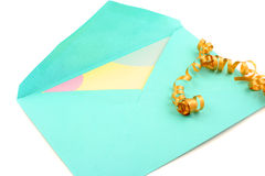 Card and envelope. Isolated greeting card inside green envelope stationary royalty free stock photo