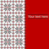 Card with ethnic ornament pattern in white,red and black colors. And place for text Stock Illustration