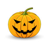Card with a evil pumpkin for Halloween Stock Photos