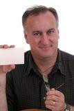 card exponeringsglas som rymmer mannen Royaltyfri Fotografi