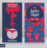Card för damnattparti med härliga flickans kontur Royaltyfria Foton