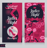 Card för damnattparti med härliga flickans kontur Arkivbild