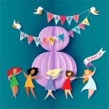Card för 8 kvinnors för mars dag stock illustrationer