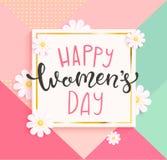Card för lycklig dag för kvinna` s med handdrawn bokstäver royaltyfri illustrationer