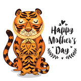 Card för moderdag med tigrar Arkivfoto