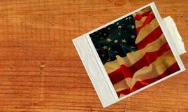 card för polaroidUSA för flaggan gammal tappning arkivfoto