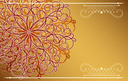 Card with fantasy ornament. Luxury gold background Royalty Free Stock Image