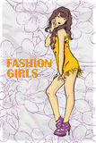 Card with fashion girl. Royalty Free Stock Photography