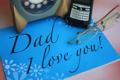Card for father's day. Card & love message for father's day Royalty Free Stock Photography