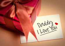 Card of fathers day and prensent box stock photos